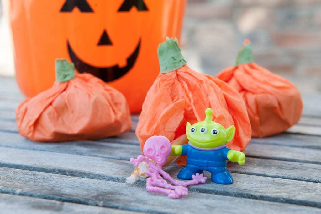 3 Ways to Make Halloween Exciting for Your Paleo Kid - Idea #2 Tissue Paper Pumpkin Treat Bags