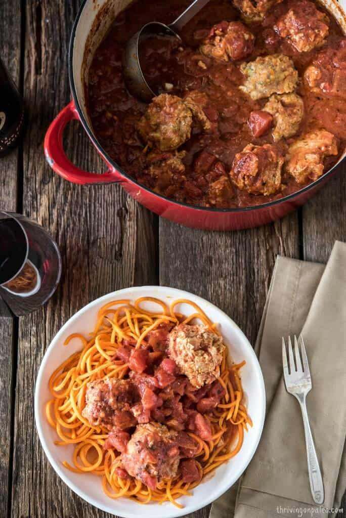 Turkey Meatballs Braised in Tomato Sauce Recipe by Thriving On Paleo - gluten-free and Paleo