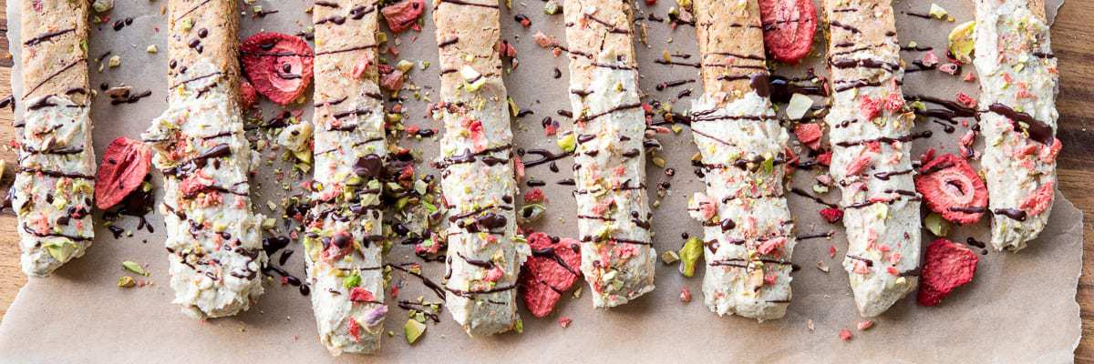 Paleo White Chocolate Strawberry Pistachio Biscotti from Thriving On Paleo #paleo #dairyfree