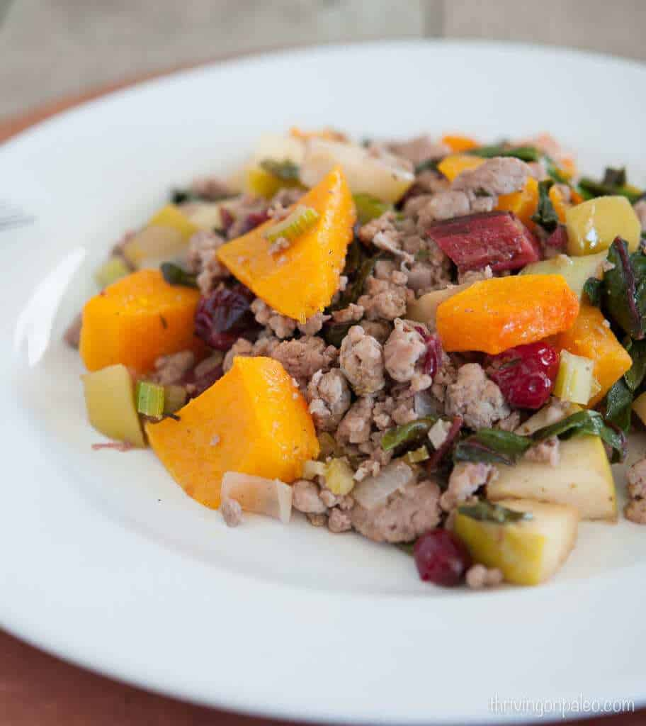 Cranberry Squash Ground Pork - a Paleo and Gluten-free dinner recipe