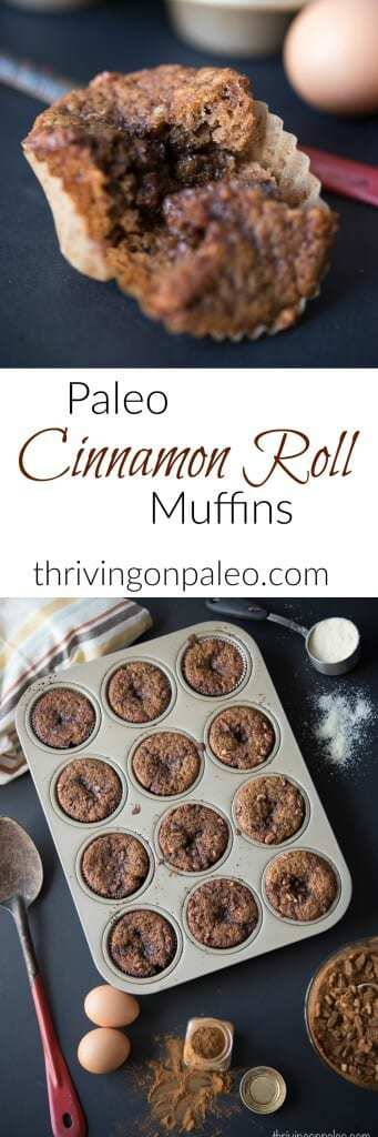 Gluten-free and Paleo Cinnamon Roll Muffins recipe - these muffins with an ooey gooey center will satisfy any craving you have for a warm cinnamon roll