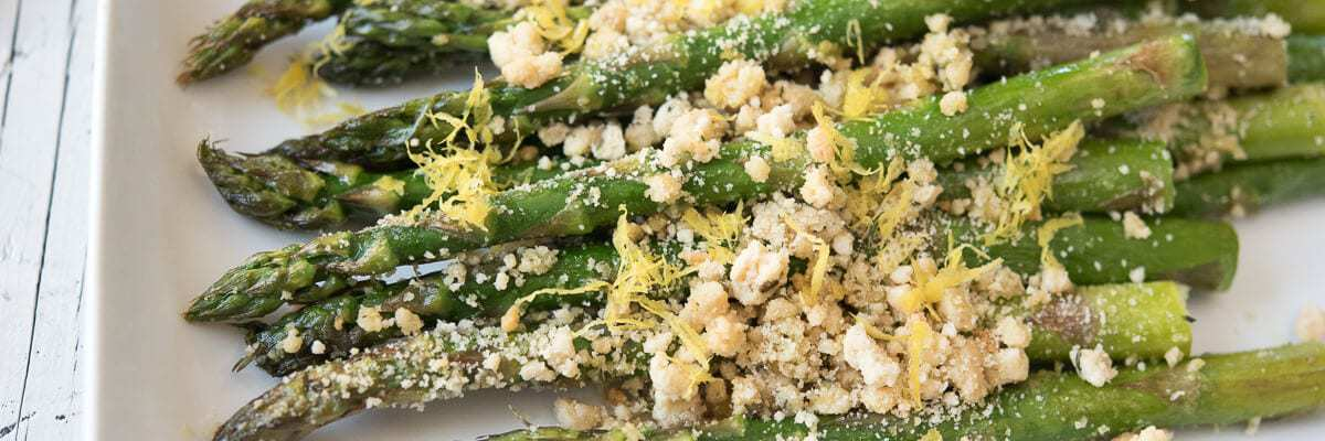 Paleo Roasted Asparagus with Breadcrumbs (That are easy to make)