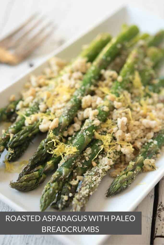 Roasted Asparagus with Paleo Breadcrumbs - a gluten-free and grain-free vegetable side dish recipe