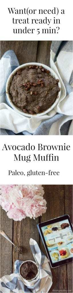Avocado Brownie Mug Muffin - a paleo and gluten-free treat recipe that is super quick to whip up so you can have a treat in less than 5 minutes!