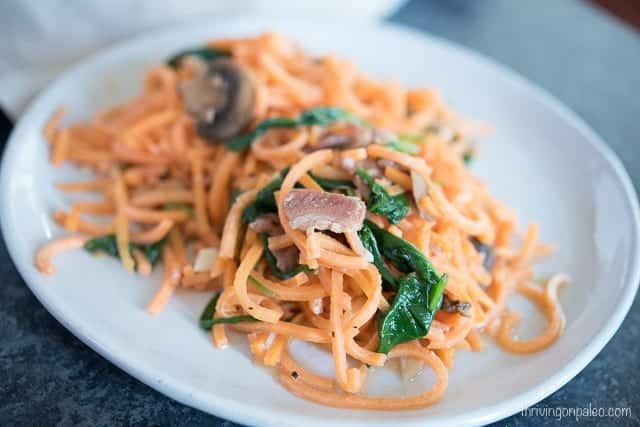 Sweet Potato Carbonara - A Paleo and gluten-free budget-friendly dinner recipe that can satisfy a less-meat appetite, or have added meat for more.