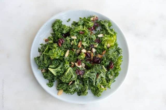 Kale Salad with Cranberries and Almonds - a paleo, gluten-free, vegan, and vegetarian easy side dish recipe