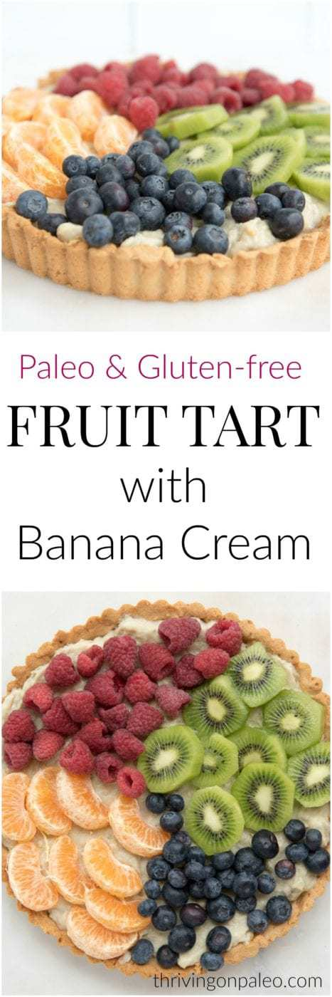 Paleo Fruit Tart with Banana Cream - a paleo and gluten-free dessert recipe perfect to make guests for the summer holidays!
