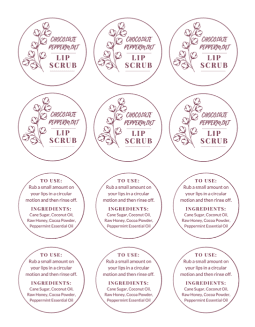Chocolate Peppermint Lip Scrub Label