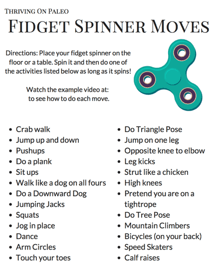 Use a fidget spinner to get your kids moving with this free printable Fidget Spinner Moves worksheet