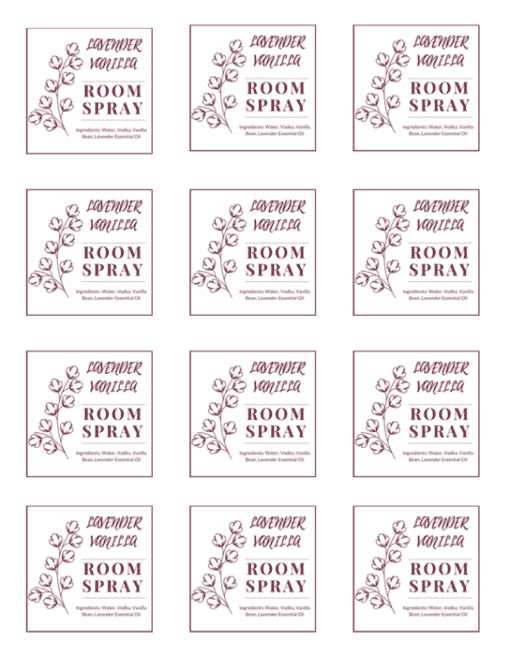 Lavender Vanilla Room Spray Labels