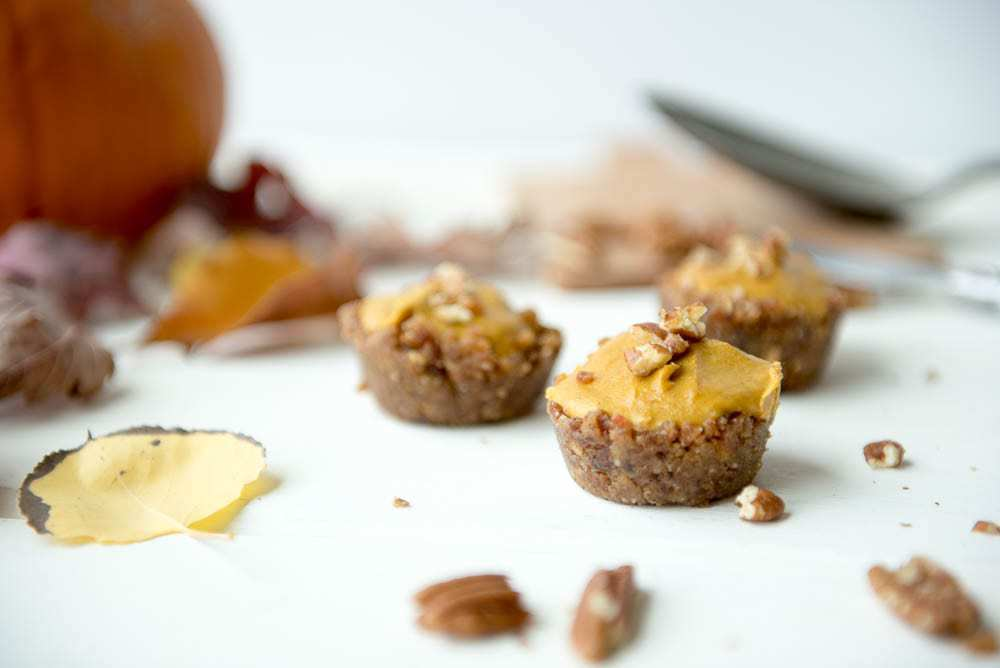 No-bake pumpkin pie bites recipe (Paleo, vegan, vegetarian, gluten-free, grain-free) - #paleorecipes #glutenfreerecipes