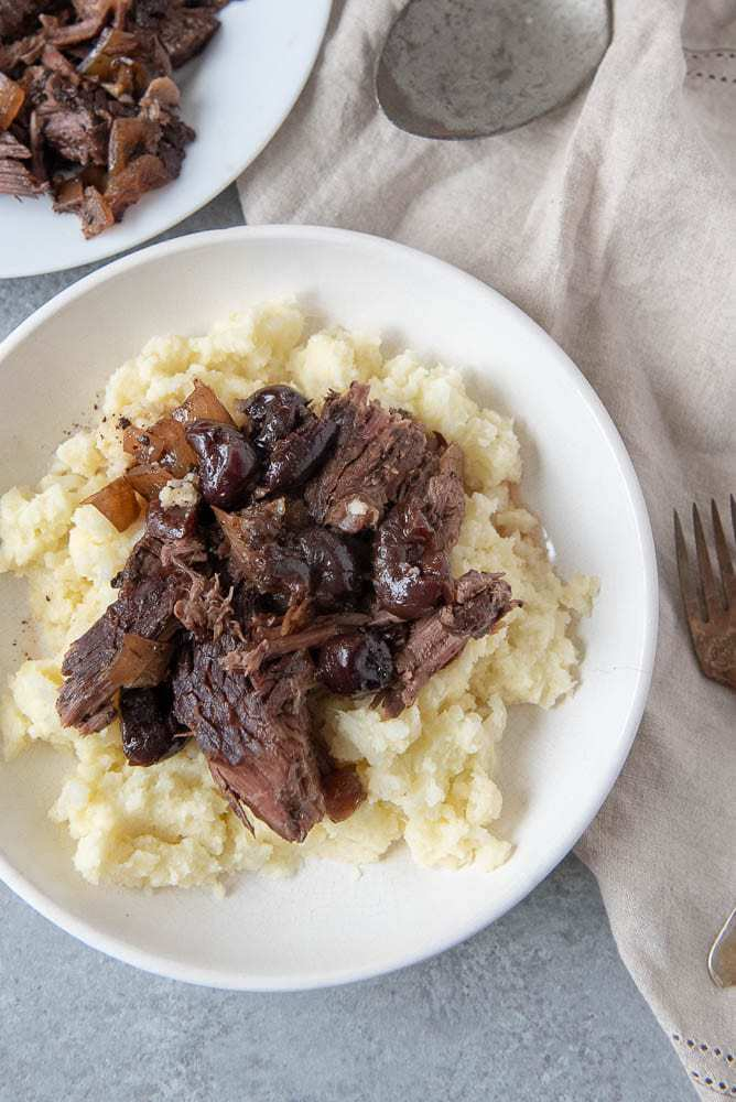 AIP Cherry Balsamic Pot Roast Recipe-overhead view