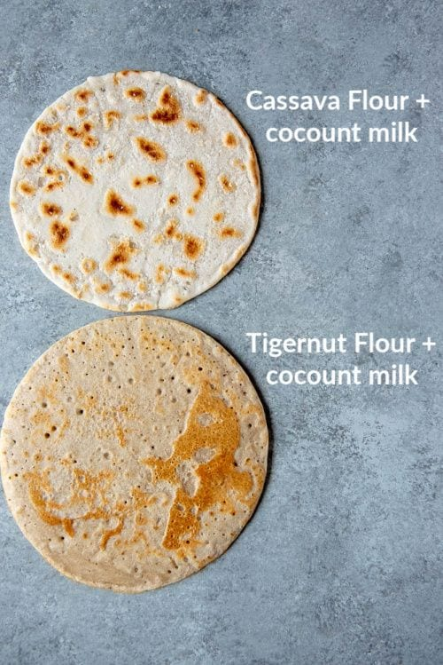 Image showing both the cassava flour and tigernut flour AIP flatbreads laying on a table for comparison
