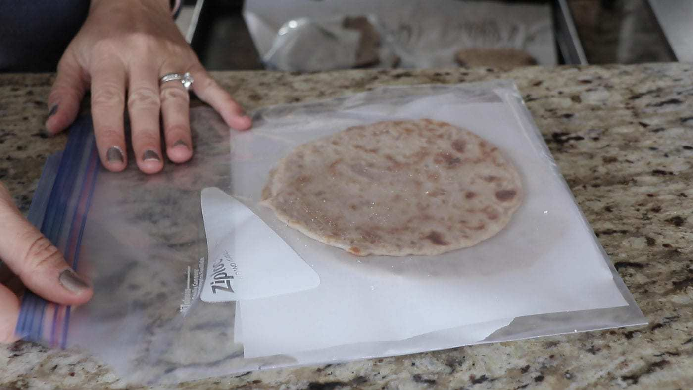 AIP flatbreads in a bag for freezing