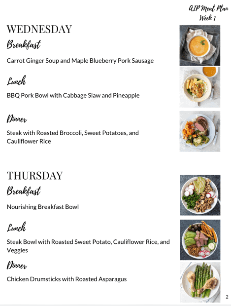 AIP Meal Plan meals in plan 2