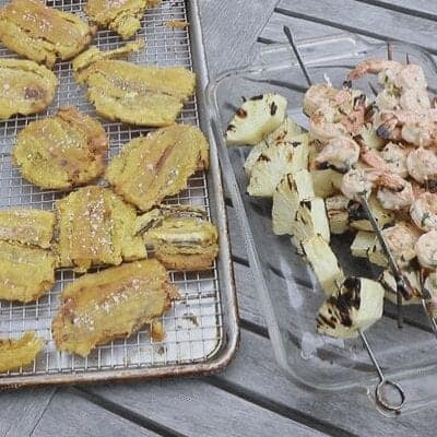 tostones with aip shrimp and pineapple