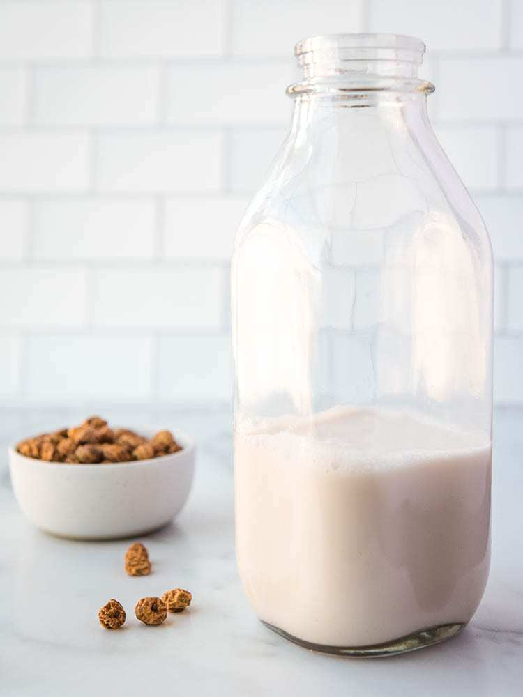 homemade tigernut milk in a jar