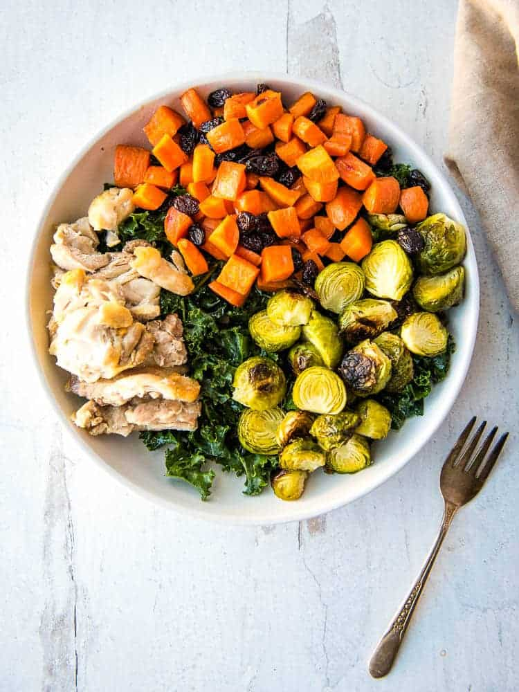 overhead view of the Brussels sprouts and Candied Carrots Bowl