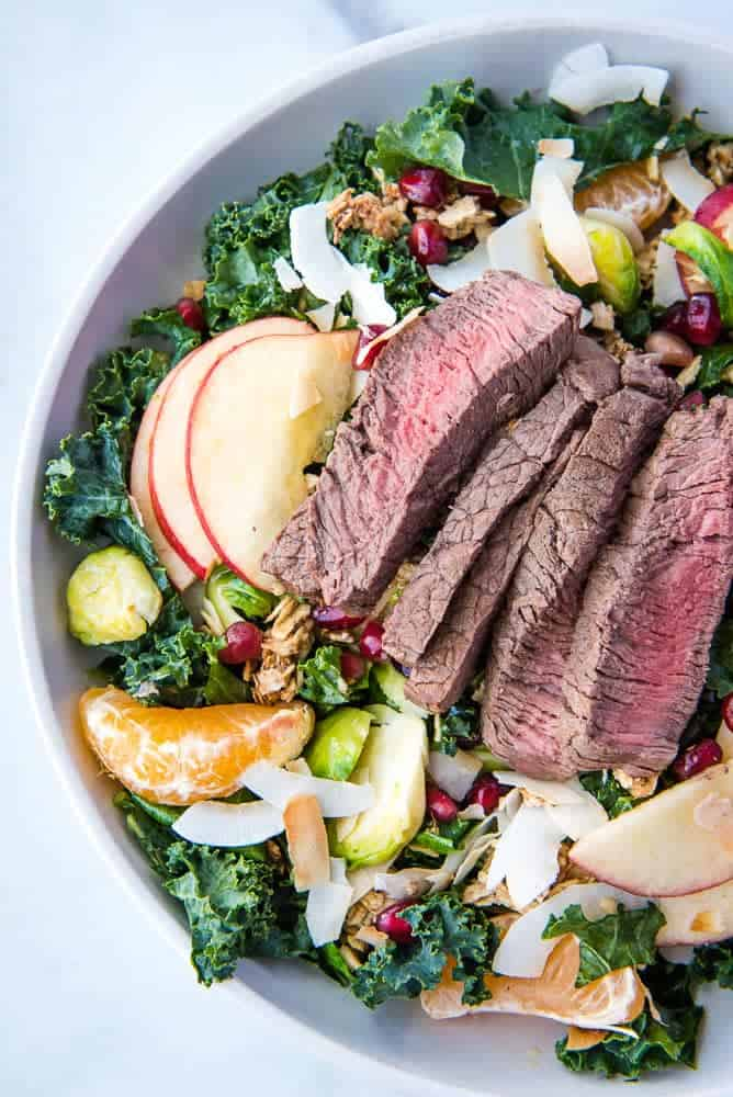 closeup of the Winter Steak Salad fully assembled from above
