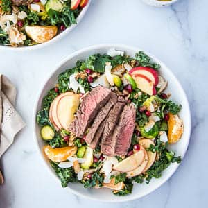 Winter Steak Salad fully assembled from above