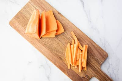 sweet potatoes both cut into sheet and matchsticks