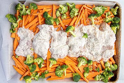 Sheet pan coconut chicken before cooking