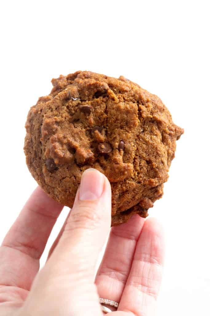 A hand holding up an AIP Chocolate Chip Cookie